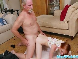 Young Redhead Teen Drilled By Granpas And Swallows Cum