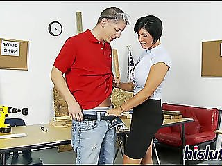 Breasty Teacher Rides Her Student's Large 10-pounder