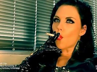 Young Goddess Kim - Latex Goddess Smoking