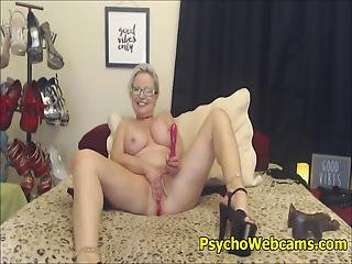 blond, briller, onani, milf, mor, alene, webcam