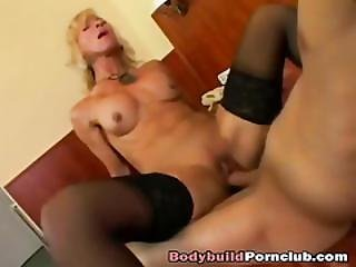 Stacked Blonde In Stockings Fingers Wet Pussy And Rides Hard Dick