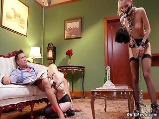 Big Cock Master Marco Banderas Reading Papers And Getting Blowjob From Blonde Slave Christie Stevens While Maid With Brush Gag Cleaning Table Then Anal Fucking Them Bdsm -