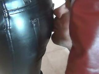 Leather Mistress Beats Her Slave For Masturbating Without Permission