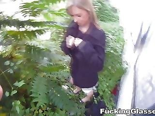 Blonde, Blowjob, Fucking, Glasses, Outdoor, Sex, Teen, Tricked