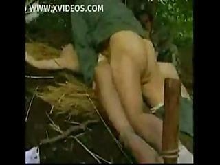 лес, сексуальный, солдат, молодой