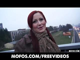 Czech Red Head Is Paid Money To Flash And Suck Cock In Public