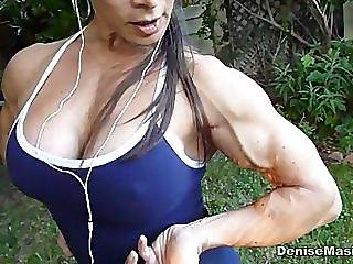 Denise Masino - Backyard Workout - Female Bodybuilder