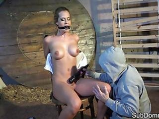 Gagged Babe Orgasms During Bondage