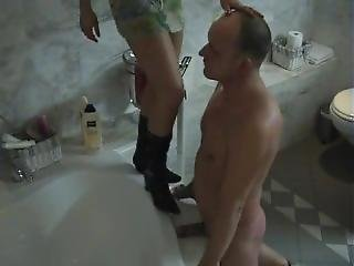Cock Crush Boots In Bathroom 1