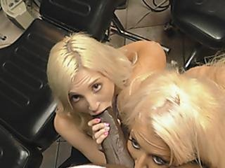 Fine Blonde Sluts Are Playing With A Horse Sized Monster Black Dick Until It Explodes