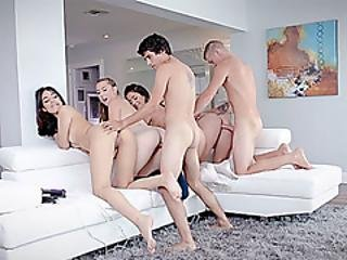 Pretty Horny Teens Got Hard Smashed In A Crazy Orgy