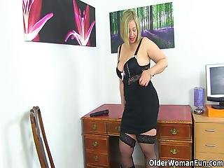Chubby Milf Shooting Star From The Uk Looks Hot In Her Black Outfit And Even Hotter When She Fucks Her Plump Fanny With A Black Dildo Bonus Video: English Milf Camilla Creampie