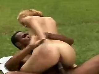 Young Blonde Chick Endures Raging Black Cock