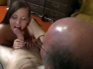 Horny Teen Sucks Her Older Neighbours Cock