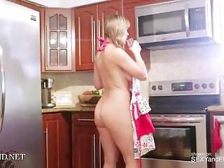 Hot Milf Cleaning The Kitchen