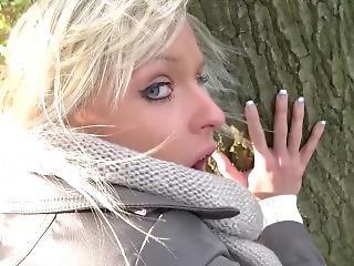 amatör, blondin, avsugning, tysk, porrstjärna, offentligt, Tonåring
