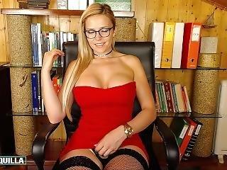 Pretty Secretary Masturbation For The Camera