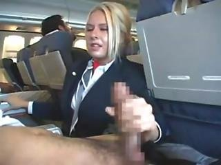 Stewardess Handjob And Blowjob Part 1