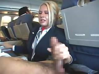 Airplane handjob flight attendant