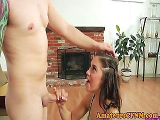Beautiful Cfnm Amateur Blowing Cock Slowly