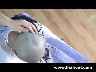 Asian Woman Straight Razor Headshave 2 Eyebrows Shave