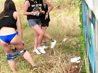 Voyeur, Public, Pee During The Festival In Spain