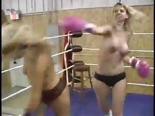 Sophie Vs Brandi Topless Boxing