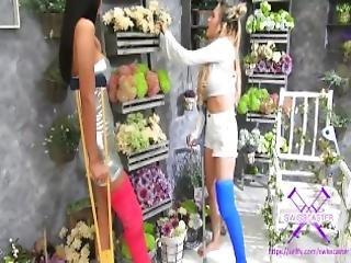 Fetisch Concept Com 2 Girls With Long Cast Leg Visit A Flower Store Part 1