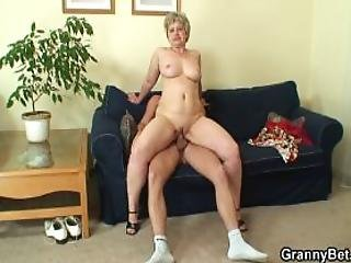 Lonely  Years Old Granny Swallows Big Cock