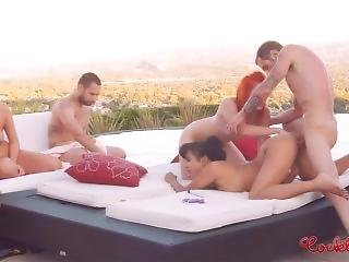 Two Hard Fucking Cocks And Four Pussies