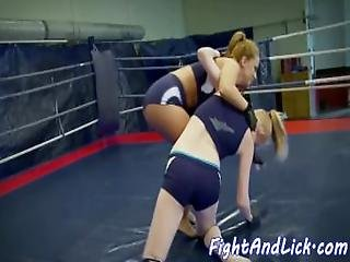 Busty Wrestling Babe Assfingering Cute Lezzie