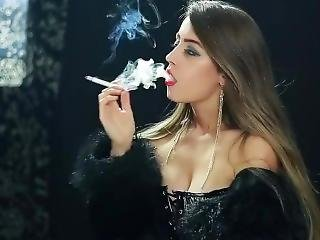 Erotic blowjob and sex with girl smoking cigarette
