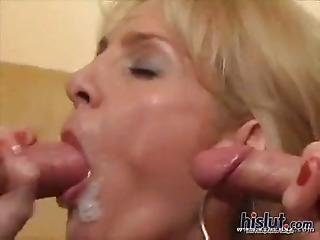 Pretty Blonde Mature Double Penetration In Threesome