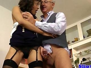 Glamour Teen Riding Old Mans Pole