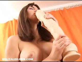 Natural Brunette Fills Her Wet Pussy With A Huge Dildo