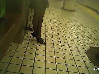 Candid Office Lady In Japan Subway Station