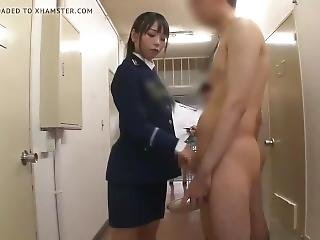 Japanese Female Guards Supervise Sperm Collection (censored)