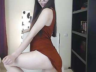 Hot Ass Nerdy Chick Striptease With Boobs And Pussy Flashing