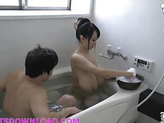 asiatisch, bad, gross titte, vollbusig, ficken, japanisch
