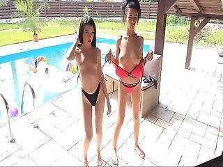 Busty Slim Girl Dancing By The Pool