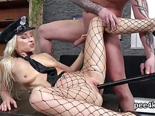 Beautiful Doll Gets Her Spread Muff Absolute Of Warm Piss And Ejaculates