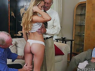 Agreeable Blond Cutie Molly Mae Copulates Excited Grandpas