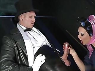 grosse bite, pipe, brunette, éjaculation, levrette, dans la tête, nique, lingerie, mature, collants, bas collants, star du porno, stocker