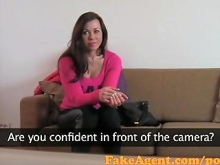 Fakeagent Brunette Amateur Takes Huge Facial In Casting Interview