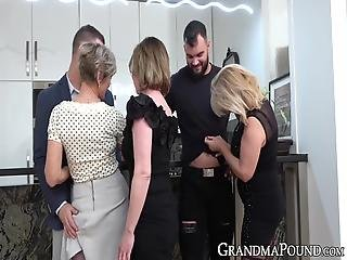 Old Babe Trio Strips Young Men For Kitchen Gangbang