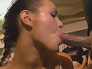 Crazy European Whore Sucks Dicks And Gets Showered With Piss