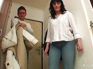 Busty Brunette Granny Fucks On The Floor