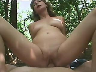 Horny Perky Tits Granny Blowing Fat Dick At The Forest
