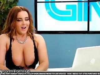Girlsway Lesbian Teen Under Natasha Nice's Desk Pussy Playing