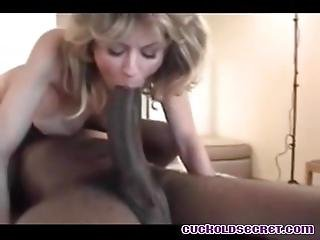 Cuckold Sissys Wife Sucking Ginormous Black Cock Huge